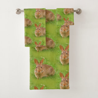 Cute Golf Groundskeeper Bunny Bath Towel Set