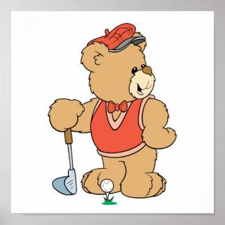 Cute Golfing Golfer Bear Poster
