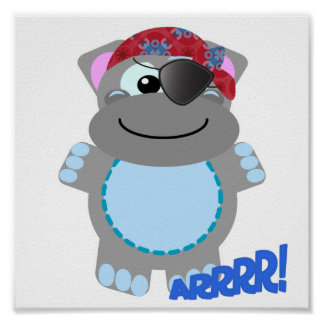 Cute Goofkins hippo pirate Poster