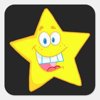 cute goofy star cartoon smiley square sticker