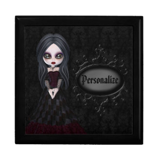 Cute Goth Girl Personalized Black Jewelry Box
