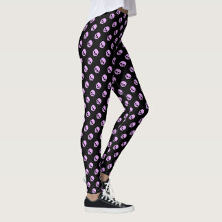 Cute Goth Pink Skulls Leggings