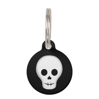 Cute goth skull pet ID tag