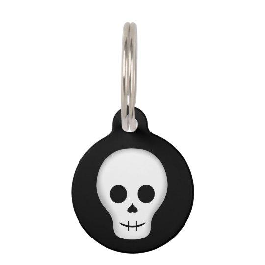 Cute goth skull pet ID tag