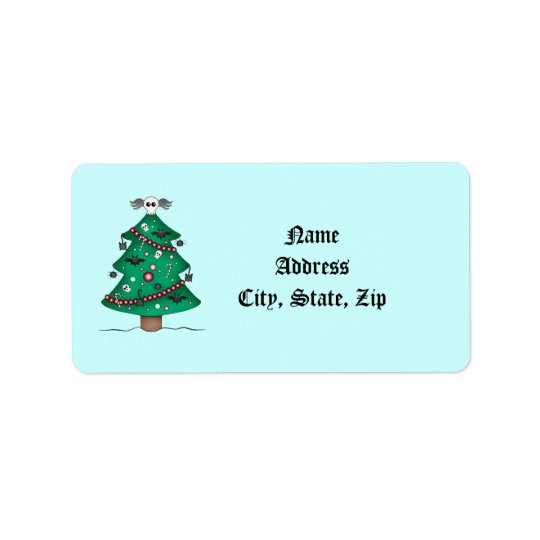 Cute gothic Christmas tree thank you Label
