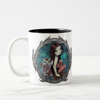 Cute Gothic Fairy and Owl Fantasy Art Mug
