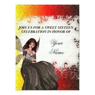 """Cute Gothic fairy sweet sixteen 6.5"""" X 8.75"""" Invitation Card"""