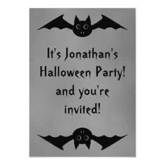 "Cute gothic Halloween vampire bat with big eyes 5"" X 7"" Invitation Card"