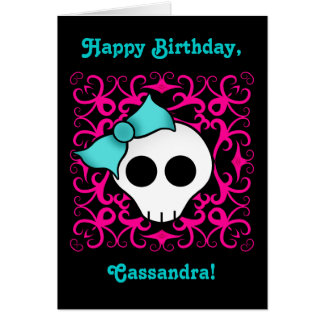 Cute gothic skull birthday for tween or teen girl card