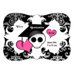 "Cute gothic skull graduation party 5"" x 7"" invitation card"