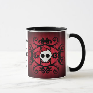 Cute gothic skull on red and black mug