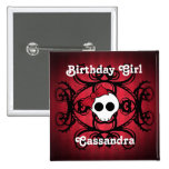 Cute gothic skull on red and black square sweet 16