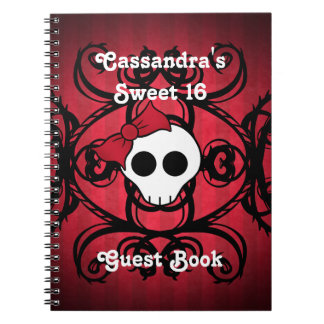 Cute gothic skull on red and black square sweet 16 notebooks