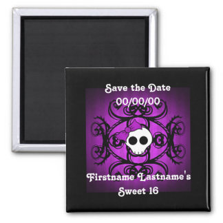 Cute gothic skull purple and black sweet 16 magnet