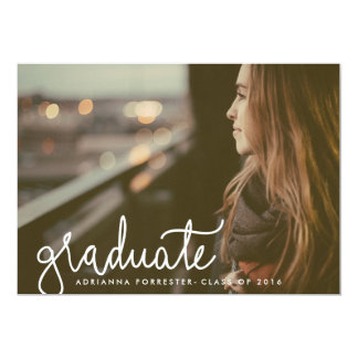"Cute Graduate Typography Photo Graduation Party 5"" X 7"" Invitation Card"