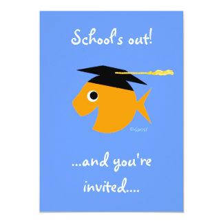 Cute Graduation Party Invitation Goldfish on Blue