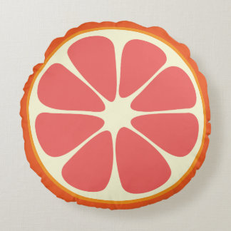 Cute Grapefruit Funny Foodie Citrus Fruit Slice Round Pillow