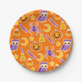 Cute Graphic Halloween Pattern 7 Inch Paper Plate