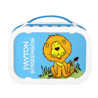 Cute graphic Lion kids named blue lunch box
