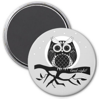 Cute graphic owl on brench with text magnet