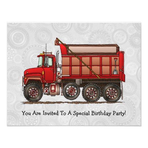 Cute Gravel Dump Truck Custom Invites