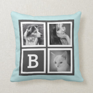 Cute Gray and Aqua Blue Instagram Photo Monogram Throw Pillow