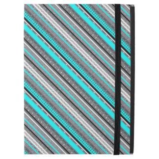 """Cute gray aqua aztec patterns iPad pro 12.9"""" case"""
