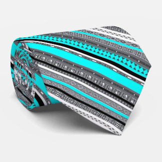 Cute gray aqua aztec patterns tie
