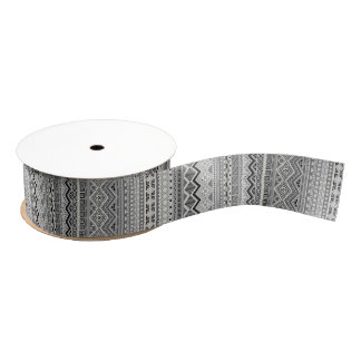 Cute gray aztec patterns design grosgrain ribbon