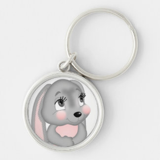 Cute Gray Bunny Silver-Colored Round Keychain