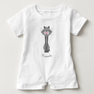 Cute Gray Cat Baby Romper
