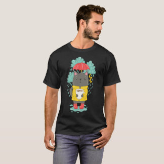 cute Gray Cat With Cup Of Coffee Under Rain T-Shirt