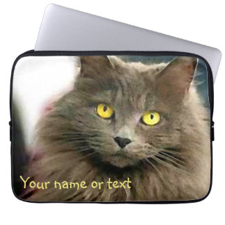 Cute Gray Cat with Golden Eyes and Your Text Computer Sleeve
