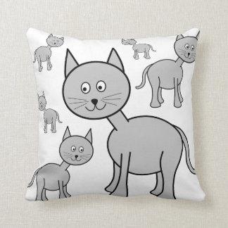 Cute Gray Cats. Cat Cartoon. Throw Pillow