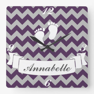 Cute Gray Chevrons Baby's Name Nursery Square Wall Clock