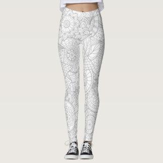 Cute Gray Floral Leggings