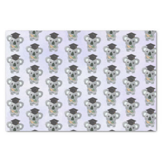 Cute Gray Koala in a Black Graduation Cap Tissue Paper