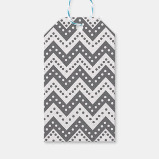Cute Gray Polkadot Zigzags Gift Tags