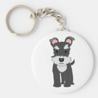 Cute gray schnauzer puppy basic round button keychain