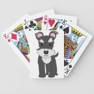Cute gray schnauzer puppy bicycle playing cards
