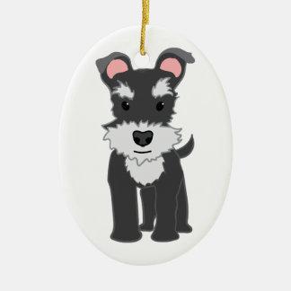 Cute gray schnauzer puppy ceramic oval ornament