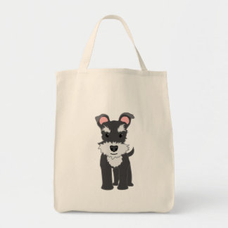 Cute gray schnauzer puppy tote bag