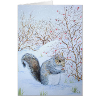 cute gray squirrel snow scene wildlife art card