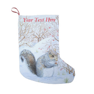 cute gray squirrel snow scene wildlife art small christmas stocking