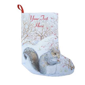cute gray squirrel snow scene wildlife christmas small christmas stocking