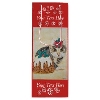 cute gray tabby kitten licking paw christmas art wine gift bag
