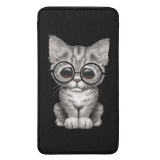 Cute Gray Tabby Kitten with Eye Glasses Black Galaxy S5 Pouch