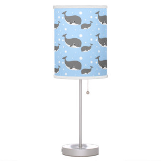 Cute Gray Whale Blue Pattern Table Lamp
