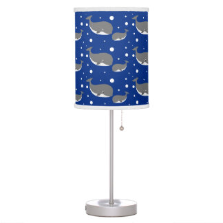 Cute Gray Whale Navy Blue Pattern Table Lamp