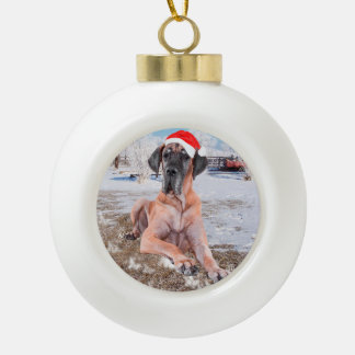Cute Great Dane Dog Sitting In Snow Christmas Hat Ceramic Ball Ornament
